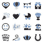 Happiness Icons. Two Tone Flat Design. Vector Illustration.