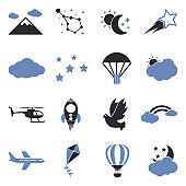 Sky Icons. Two Tone Flat Design. Vector Illustration.