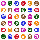 Online Shopping Icons. White Flat Design In Circle. Vector Illustration.