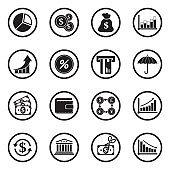 Economy Icons. Black Flat Design In Circle. Vector Illustration.
