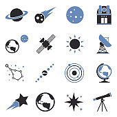 Astronomy Icons. Two Tone Flat Design. Vector Illustration.
