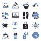 Summer Sale Icons. Two Tone Flat Design. Vector Illustration.