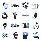 Renewable Energy Icons. Two Tone Flat Design. Vector Illustration.