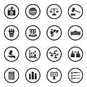 Democracy And Politics Icons. Black Flat Design In Circle. Vector Illustration.