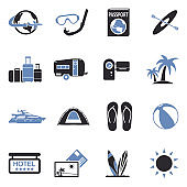Vacation Icons. Two Tone Flat Design. Vector Illustration.