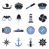 Sailor Icons. Two Tone Flat Design. Vector Illustration.
