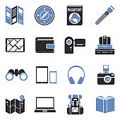 Travel Tools Icons. Two Tone Flat Design. Vector Illustration.