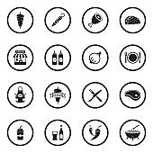 Kebab Icons. Black Flat Design In Circle. Vector Illustration.