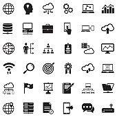 Information Technology Icons. Black Flat Design. Vector Illustration.