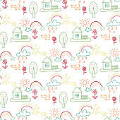 Seamless pattern with houses and trees, flowers, clouds