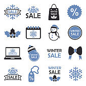 Winter Sale Icons. Two Tone Flat Design. Vector Illustration.