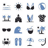 Spring Break Icons. Two Tone Flat Design. Vector Illustration.