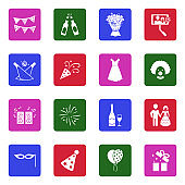Celebration Icons. White Flat Design In Square. Vector Illustration.