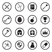 Game Elements Icons. Black Flat Design In Circle. Vector Illustration.