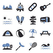 Summer Camp Icons. Two Tone Flat Design. Vector Illustration.