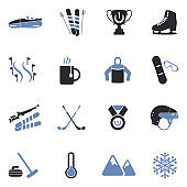 Winter Sports Icons. Two Tone Flat Design. Vector Illustration.