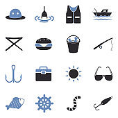 Fishing Icons. Two Tone Flat Design. Vector Illustration.