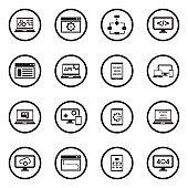 Programming Icons. Black Flat Design In Circle. Vector Illustration.