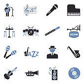 Jazz Icons. Two Tone Flat Design. Vector Illustration.