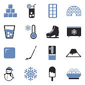 Ice Icons. Two Tone Flat Design. Vector Illustration.