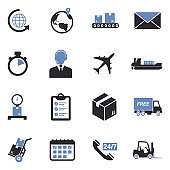 Shipping And Delivery Icons. Two Tone Flat Design. Vector Illustration.