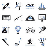 Outdoor Activities Icons. Two Tone Flat Design. Vector Illustration.