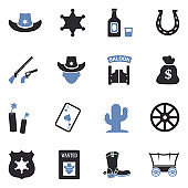 Cowboy Icons. Two Tone Flat Design. Vector Illustration.
