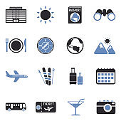 Travel Icons. Two Tone Flat Design. Vector Illustration.