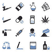 Drugs Icons. Two Tone Flat Design. Vector Illustration.