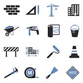 Construction Icons. Two Tone Flat Design. Vector Illustration.