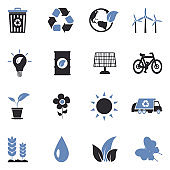 Ecology Icons. Two Tone Flat Design. Vector Illustration.