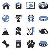 Dog Icons. Two Tone Flat Design. Vector Illustration.