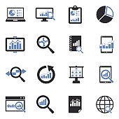 Data Analysis Icons. Two Tone Flat Design. Vector Illustration.