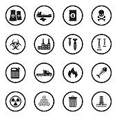 Pollution Icons. Black Flat Design In Circle. Vector Illustration.