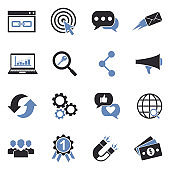 Digital Marketing Icons. Two Tone Flat Design. Vector Illustration.