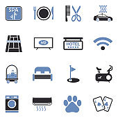 Hotel Services Icons. Two Tone Flat Design. Vector Illustration.