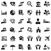 Insurance Icons. Black Flat Design. Vector Illustration.