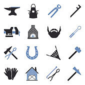 Blacksmith Icons. Two Tone Flat Design. Vector Illustration.