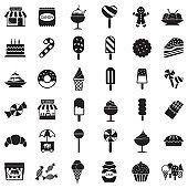 Candy Shop Icons. Black Flat Design. Vector Illustration.
