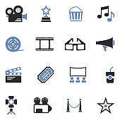 Cinema Icons. Two Tone Flat Design. Vector Illustration.