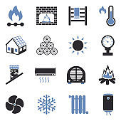 Heating Icons. Two Tone Flat Design. Vector Illustration.