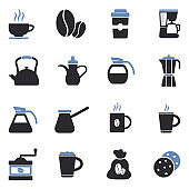 Coffee Icons. Two Tone Flat Design. Vector Illustration.