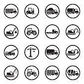 Construction Transport Icons. Black Flat Design In Circle. Vector Illustration.