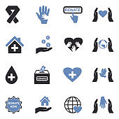 Charity And Donation Icons. Two Tone Flat Design. Vector Illustration.
