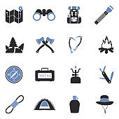 Expedition Icons. Two Tone Flat Design. Vector Illustration.