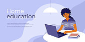 Online education from home concept with student studying using laptop