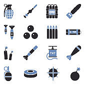 Bombs And Explosives Icons. Two Tone Flat Design. Vector Illustration.