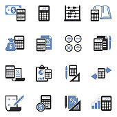 Calculation Icons. Two Tone Flat Design. Vector Illustration.