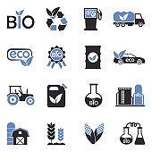 Bio Fuel Icons. Two Tone Flat Design. Vector Illustration.