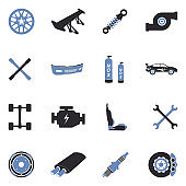 Car Tuning Icons. Two Tone Flat Design. Vector Illustration.